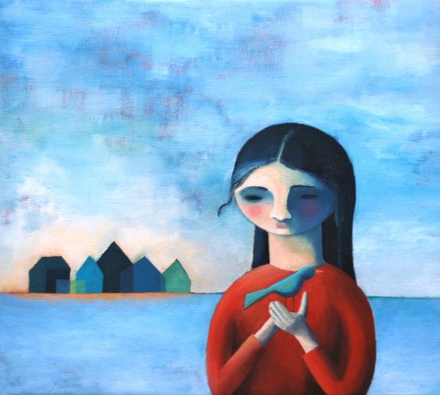 City-Girl-Bird. Olja på duk. 32x29cm. (Oil on canvas). 2 900 SEK (€290)