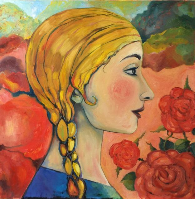 """Rosendoft"" Olja på duk. 100x100cm 9 800:- ""The scent of a rose"" (€980) Oil on canvas."
