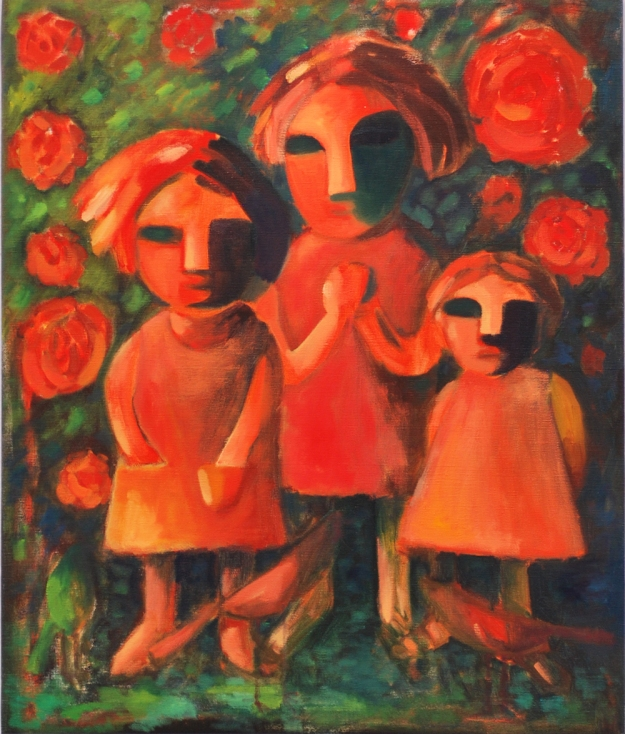 Systrar, olja på duk. | Sisters. Oil on canvas.