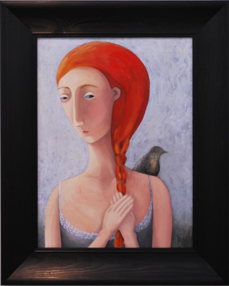 """Damen med fågeln. Olja på linneduk. 40x54cm (med svart träram 58x72cm), 7 500 SEK.  """"Lady with bird"""". Oil on linen. €750"""